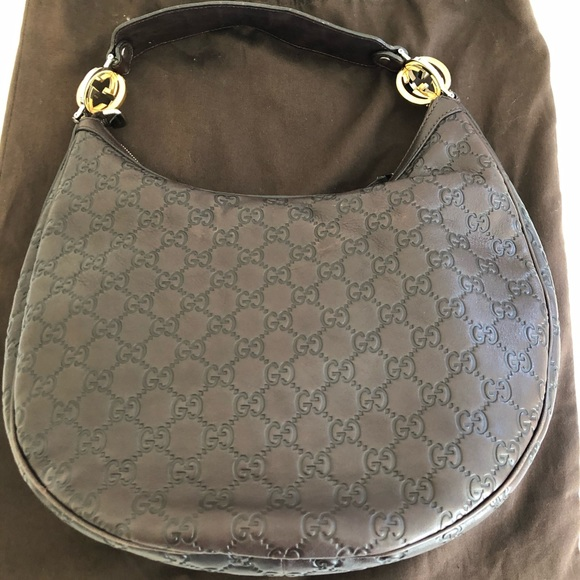 Gucci Handbags - GUCCI BROWN GG GUCCISSIMA LEATHER HOBO BAG
